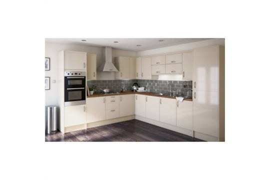 1b hiline pack white kitchen cabinets with cream gloss for Cream kitchen base units