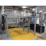 SS ingredient platform with Hytrol powerless rollers, 108 in. long x 44 in. wide x 88 in. tall ** Ri