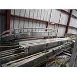 SS conveyor frames, straight 166 in. long x 12 in wide, 180 degree section 108 in. long x 12 in. wid