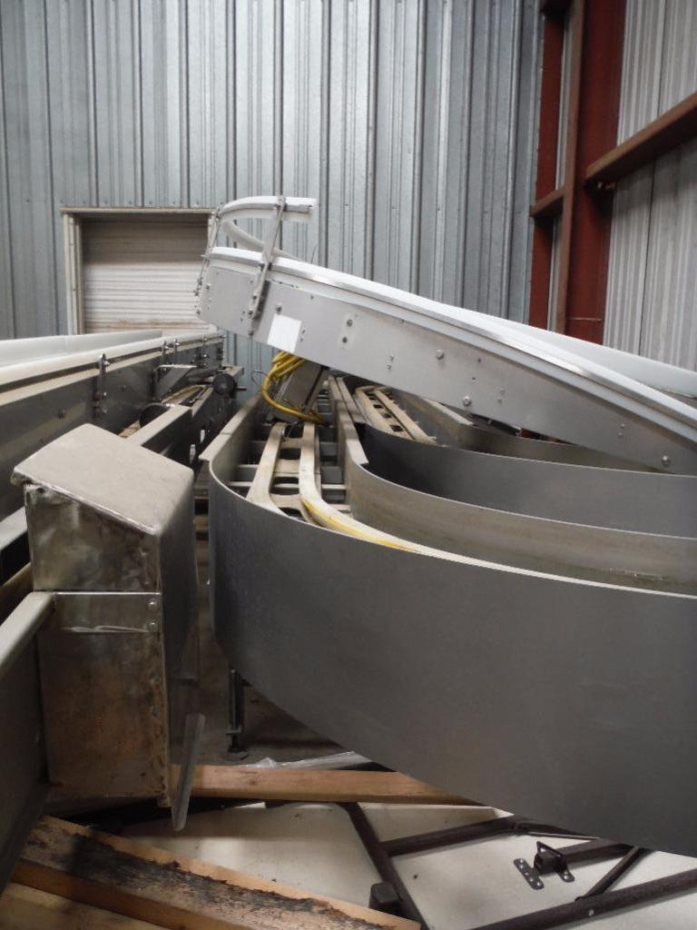 Lot 6 - SS two lane conveyor frame, straight section 200 in. long x 10 in. wide, 180 degree section 190 in.