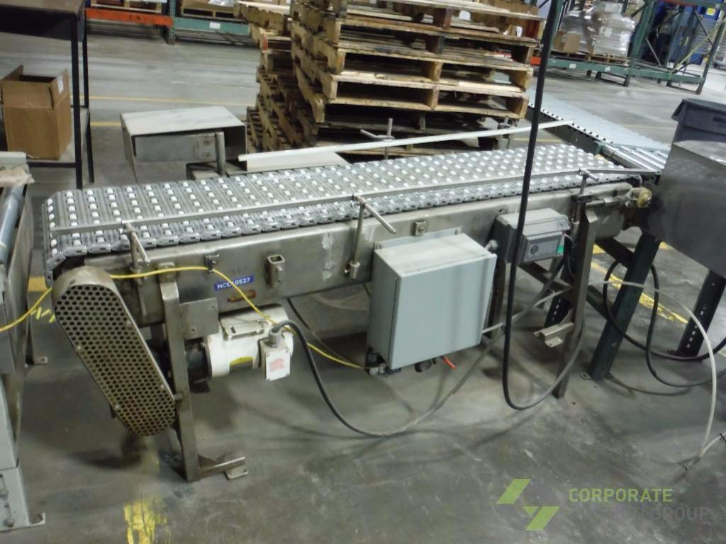 Lot 55 - SS accumulation conveyor, 70 in. long x 14 in. wide, motor and drive ** Rigging Fee: $ 150** (Locate