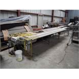 Multi Conveyor SS 3-lane pack-off conveyor, white plastic interloc belt, 286 in. long x 10 in. wide,