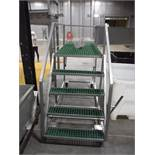 SS rolling platform, 84 in. long x 36 in. wide, 4 steps, poly decking ** Rigging Fee: $ 50** (Locate