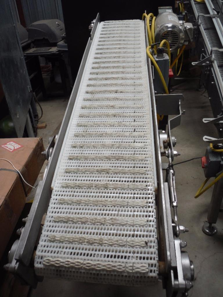 Lot 13 - D and F SS Incline conveyor, Model DFM500, 72 in. long x 12 in. wide x 36 in. low end and 52 in. hig