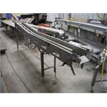 D and F SS conveyor frame, Model DFM500, 140 in long. X 10 in. wide, w/ motor and drive, 1 hp. ** Ri