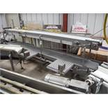 D and F SS pack-off conveyor, 188 in. long x 16 in. wide x 26 in. tall, grey plastic interloc belt,