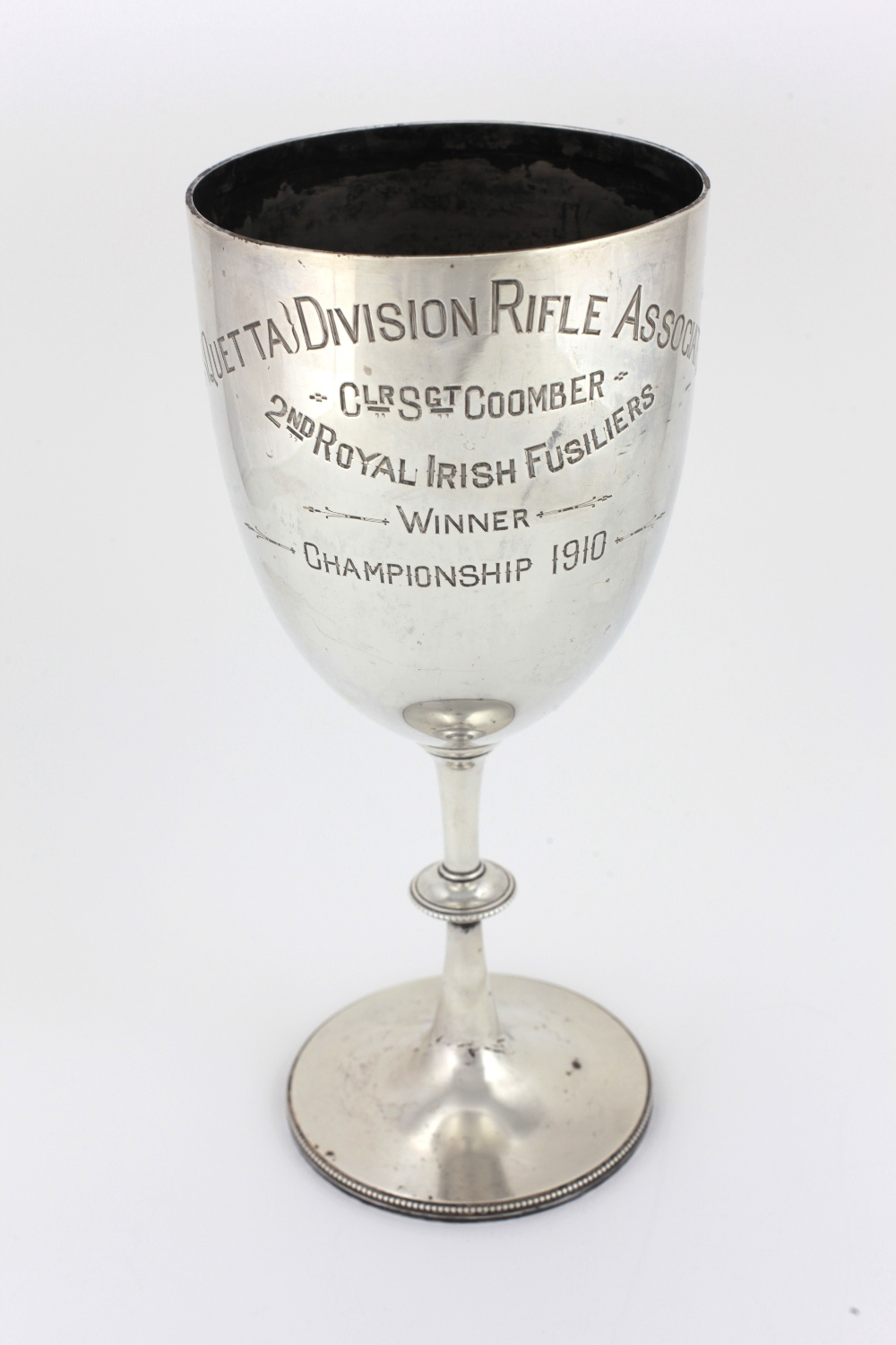 """Lot 32 - A tall English silver Trophy Cup, London c. 1909, inscribed """"4th Ouetta Division Rifle Association."""