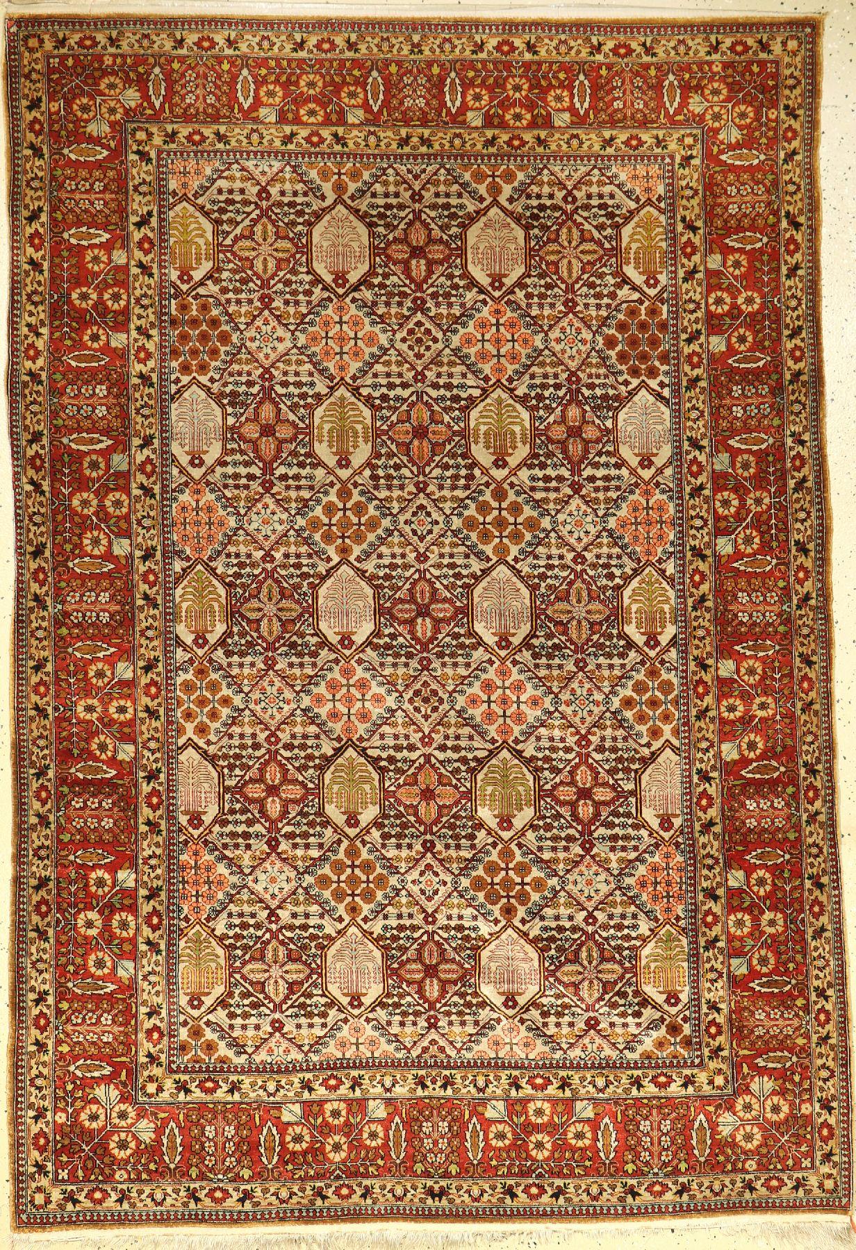Seiden Ghom alt, Persien, um 1950, reine Naturseide, ca. 207 x 138 cm, selten, hochwertig, EHZ: 2-
