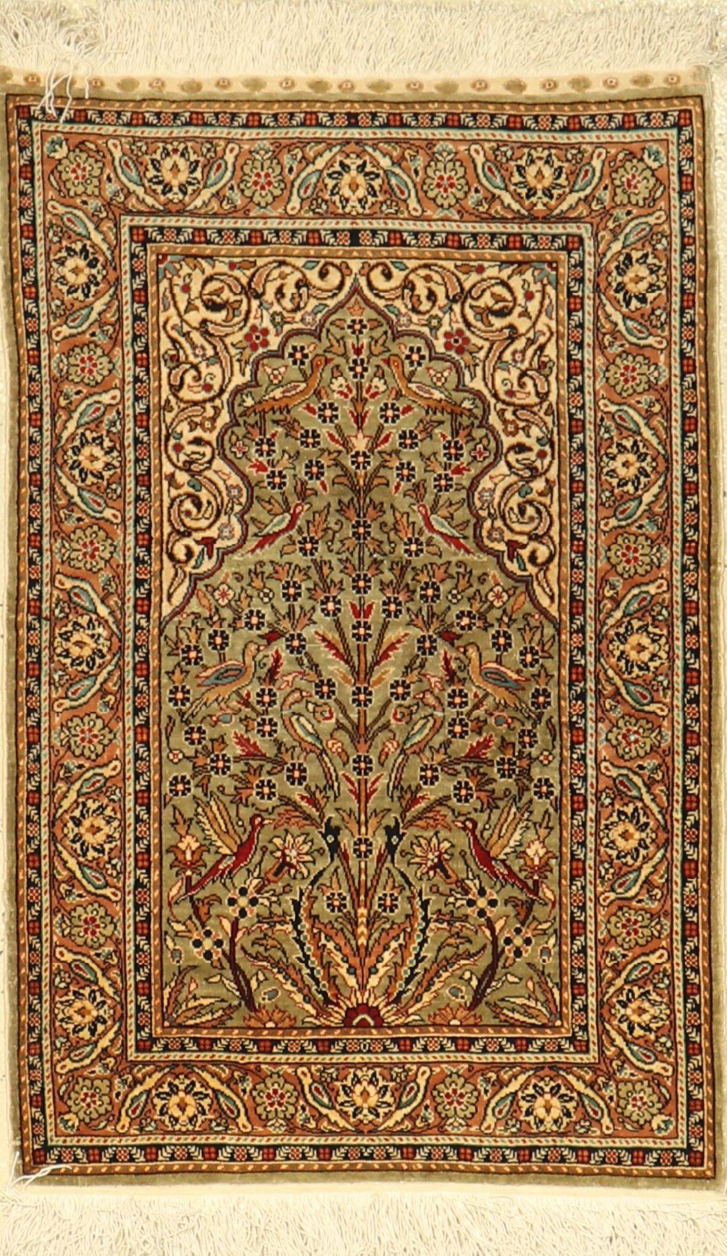 Seiden Hereke Cinar alt, Türkei, Signiert, ca. 40 Jahre, reine Naturseide, ca. 83 x 54 cm, EHZ: 2