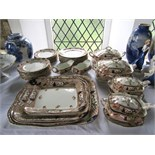 A quantity of late Victorian Cypress pattern dinnerwares with printed and infilled border decoration