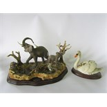 A substantial Worcester Ornamental Studio limited edition group of elephants at a watering hole with