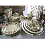 A quantity of Coalport Rosamund pattern dinner wares comprising: four oval graduated meat plates,