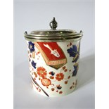 A late 19th century Ridgways Old Derby pattern biscuit barrel with printed infilled and gilded Imari