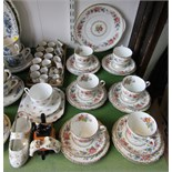 A collection of Royal Grafton Malvern pattern tea wares comprising: cake plate, six cups, six
