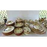 An extensive collection of 19th century Oriental Ivory Ashley pattern dinnerwares with red and brown