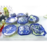 An extensive collection of early 20th century Wedgwood and Co blue and white printed willow