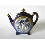 An unusual Doulton Burslem blue ground teapot, of two sided form with printed Shakespearean
