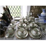 A collection of Royal Copenhagen coffee and other wares with brown and gilt rose and other floral