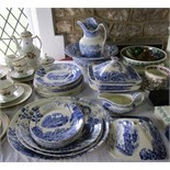A collection of Pountney and Co. blue and white printed dinner wares showing Thames scenes and