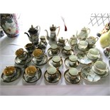 A collection of Japanese eggshell porcelain tea and coffee wares of various design including a six