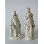 Two 19th century Parian ware figures of classical style female characters, one holding a floral
