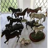 A collection of Beswick models of horses, including a matt glazed Quarter Horse, a matt glazed