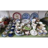 A collection of 19th century and other ceramics including a Victorian cylindrical pot with relief