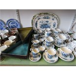 A collection of Masons Ironstone fruit basket pattern wares comprising: and oval meat plate, five