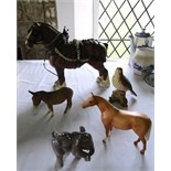 A Beswick matt glaze model of a shire horse, a further Beswick matt glaze model of a palomino