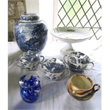 A large Booths blue and white printed British scenery pattern ovoid vase and cover with printed mark