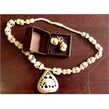 Necklace & Earings Bone -Elephants - very good condition