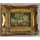 "Delightful picture of three cats playing -Gold wood frame 9""x11"" in frame, this has been restored by"