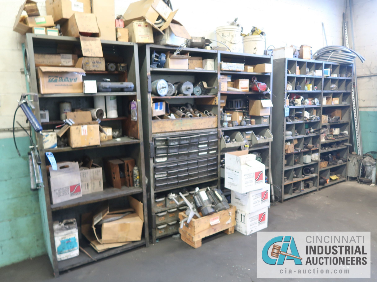 (LOT) CONTENTS OF MAINTENANCE ROOM, (10) CABINETS & SHELVES WITH BUILDING & MACHINE MAINTENANCE