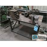 (LOT) HEAVY STEEL TABLE WITH MCHINE ACCESSORIES, VISES, LATHE CHUCKS & RELATED