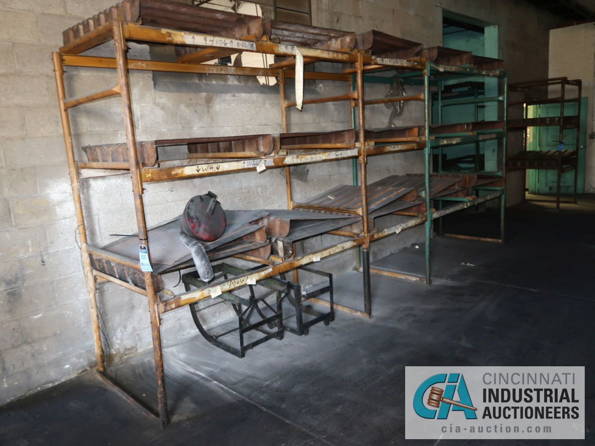 (LOT) TUBULAR FRAME RACK IN (2) ROOMS, APPROX. (17) SECTIONS WITH METAL SKIDS