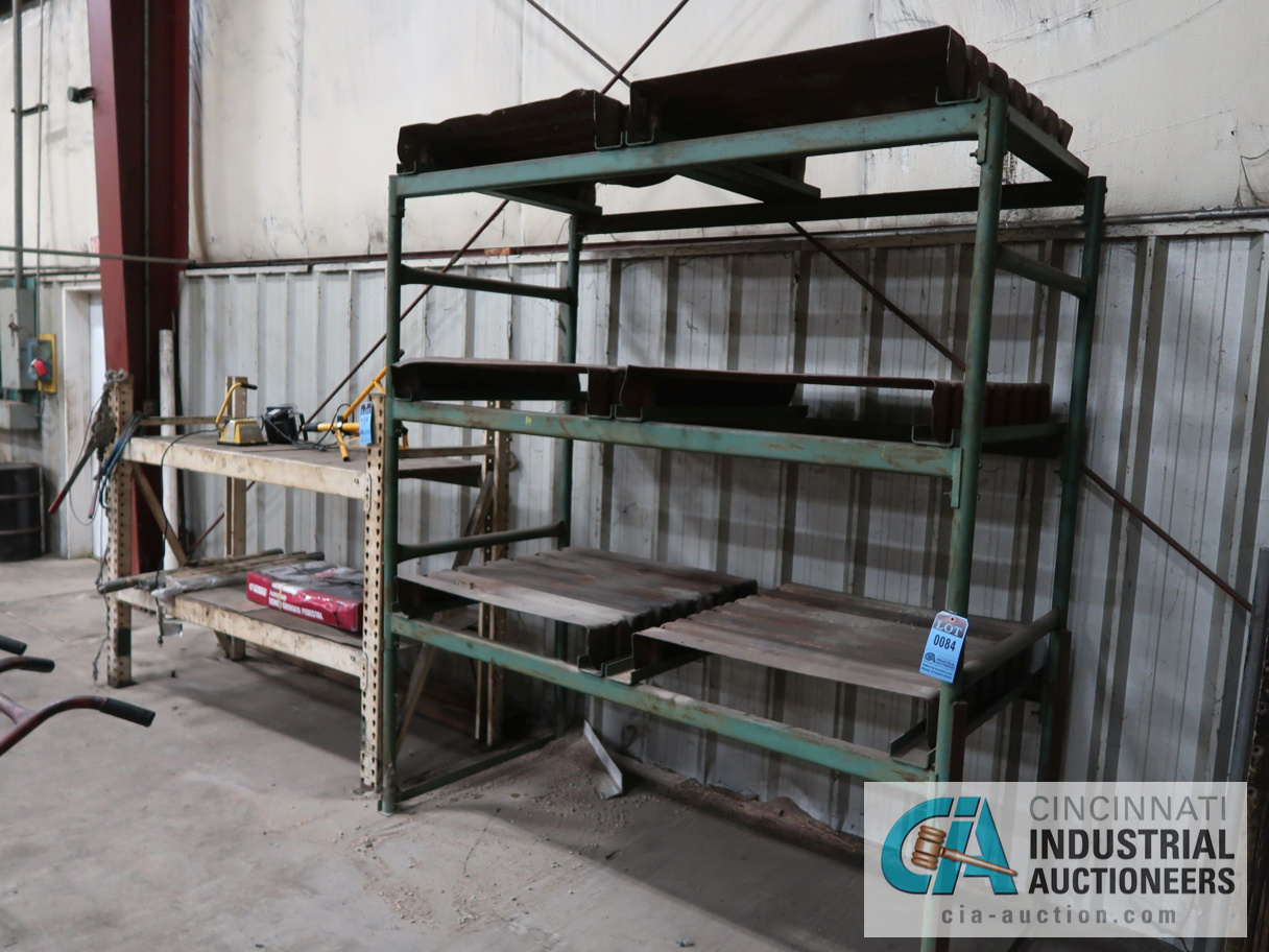SECTIONS OF MISC. SIZE PALLET RACK WITH CONTENTS
