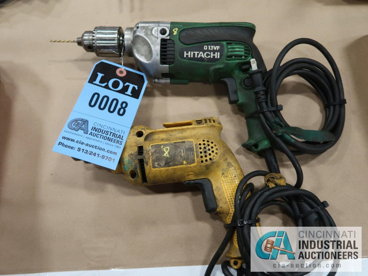"1/2"" ELECTRIC DRILLS BY DEWALT & HITACHI"