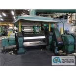 "22"" X 60"" STEWART BOLLING ROLLING MILL; S/N 6692, 150-HP DC MOTOR, ELECTRIC DRIVE PANEL ON WALL"