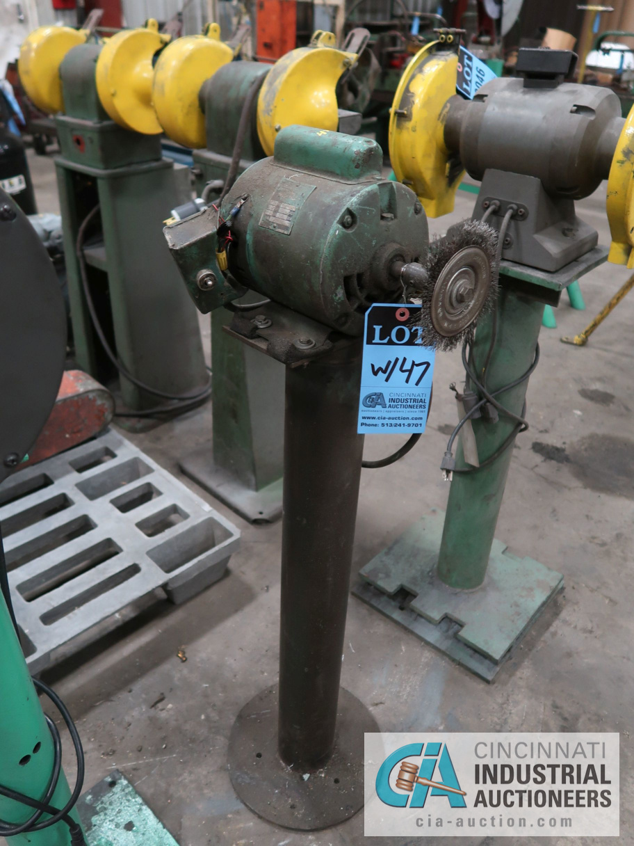 """8"""" CENTRAL MACHINERY DOUBLE END GRINDER WITH SHOP BUILT BRUSH GRINDER - Image 2 of 2"""