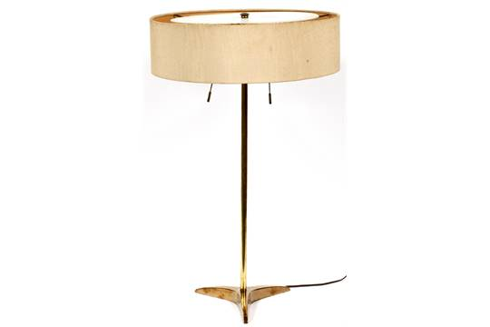 Gerald thurston for stiffel brass table lamp mid 20th c h 21 gerald thurston for stiffel brass table lamp mid 20th c h 21 brass tripod base shade is aloadofball Images