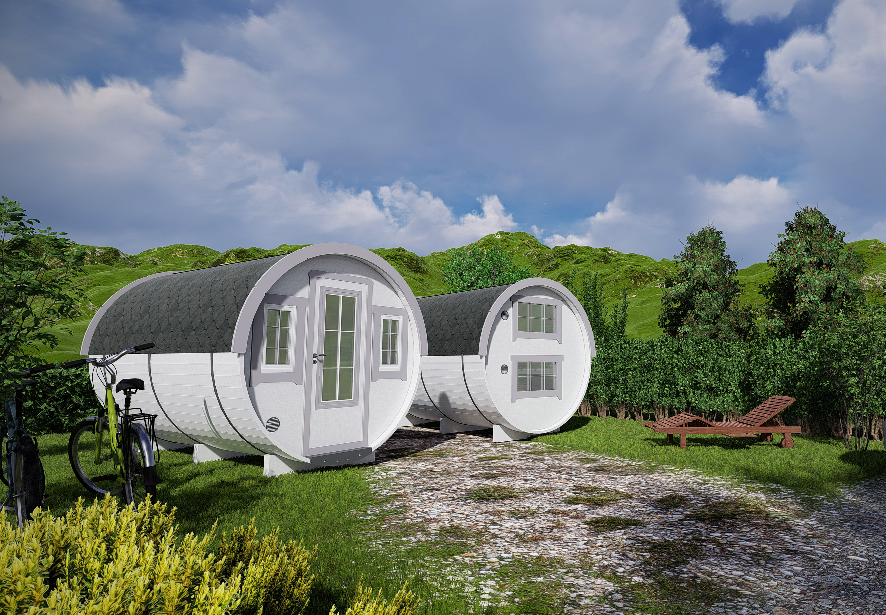 Lot 18003 - V Brand New 2.2 x 3.3m Barrel For Sleeping - Sleeping & Sitting Rooms Inside - Sleeping Room With
