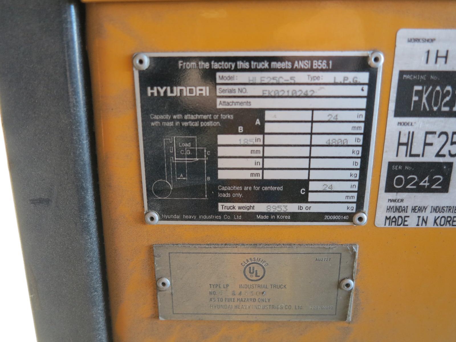 Lot 32 - HYUNDAI 4,800 LB LP FORKLIFT, MODEL HLE-25C-5, S/N EK0210242, OUT OF SERVICE