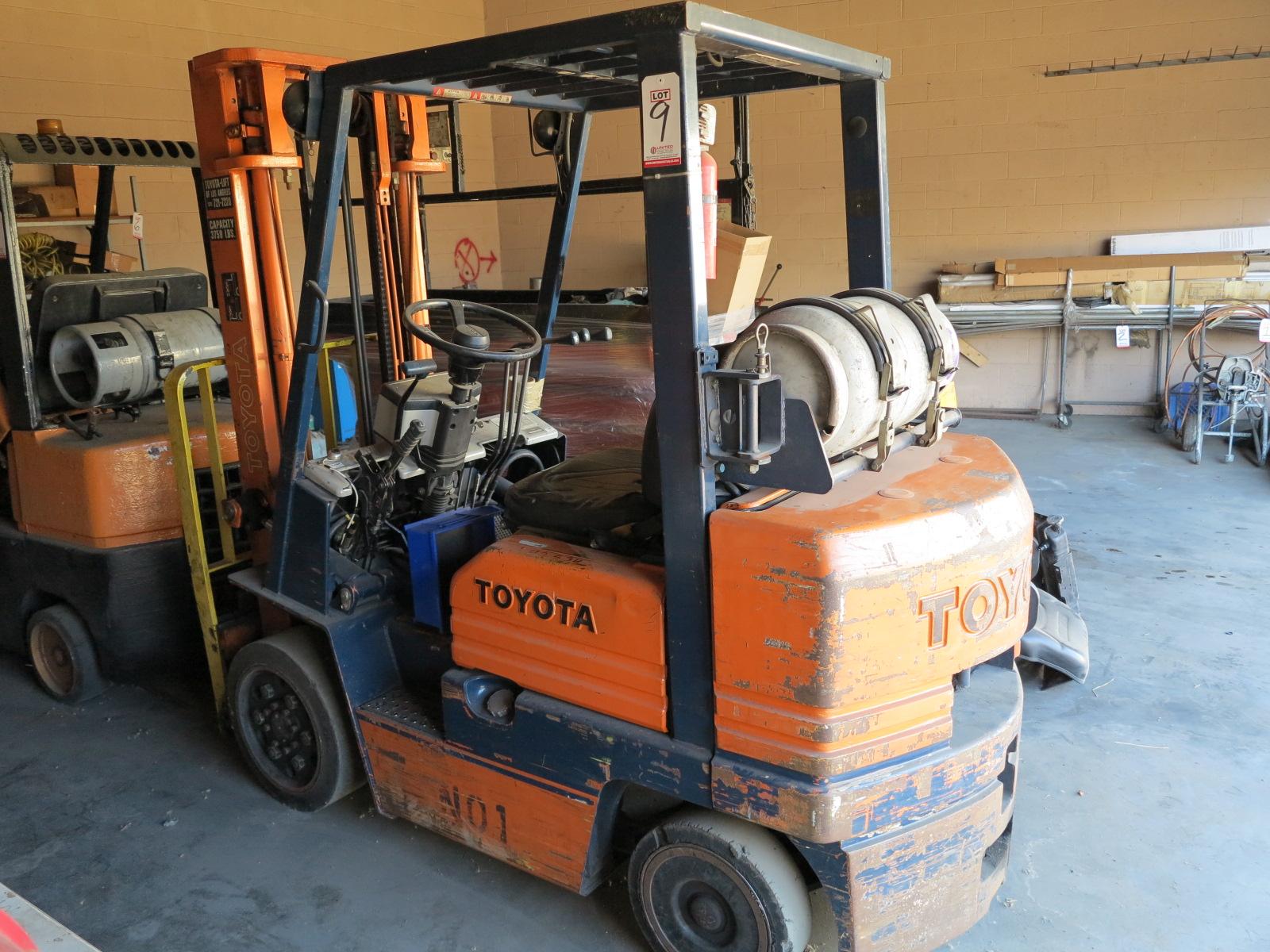 Lot 9 - TOYOTA 4,750 LB LP FORKLIFT, MODEL 5FGC25, S/N 73125, OUT OF SERVICE