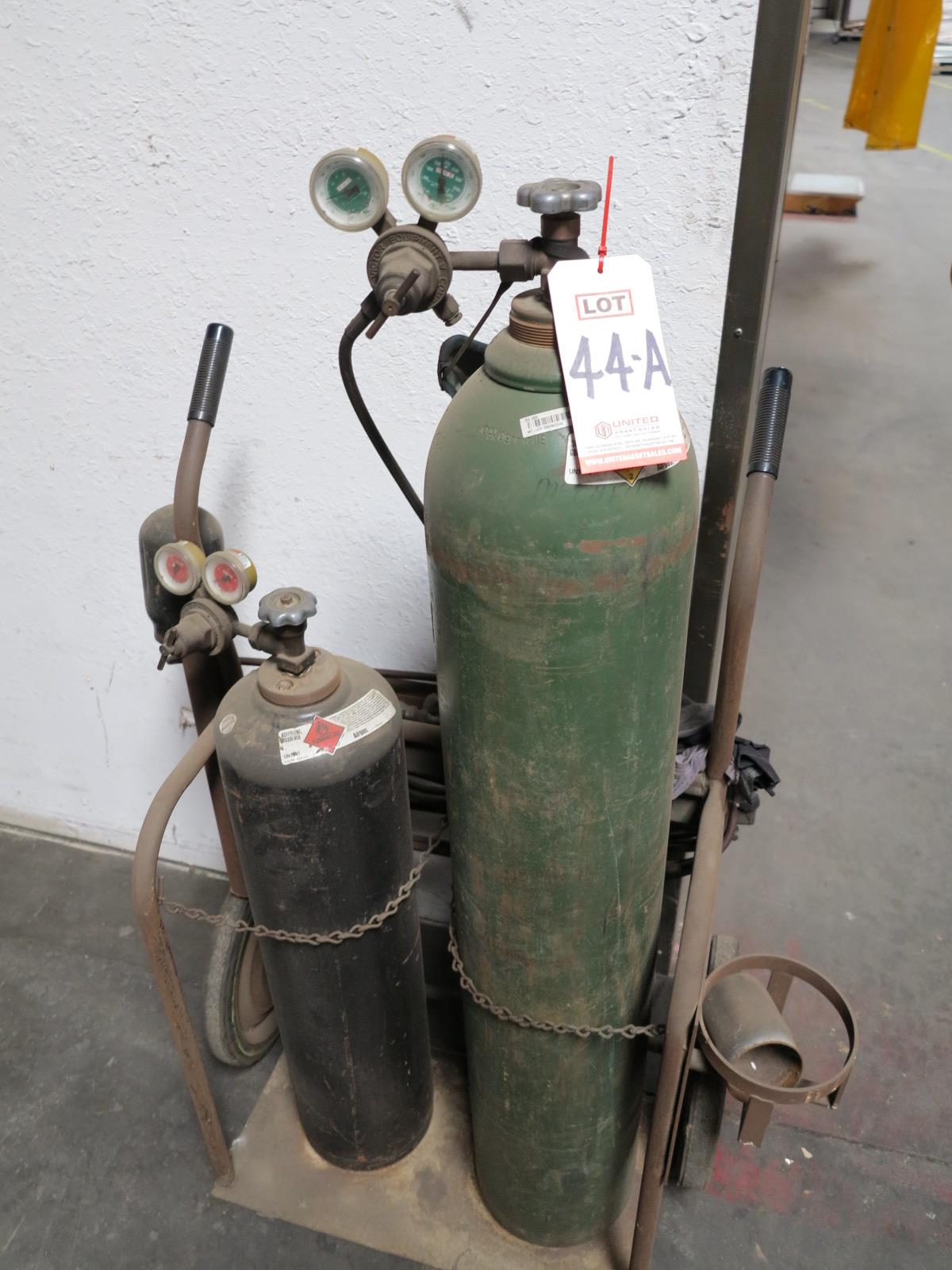 Lot 44A - OXY ACETYLENE CUTTING TORCH CART W/ REGULATORS AND TORCH, TANKS NOT INCLUDED
