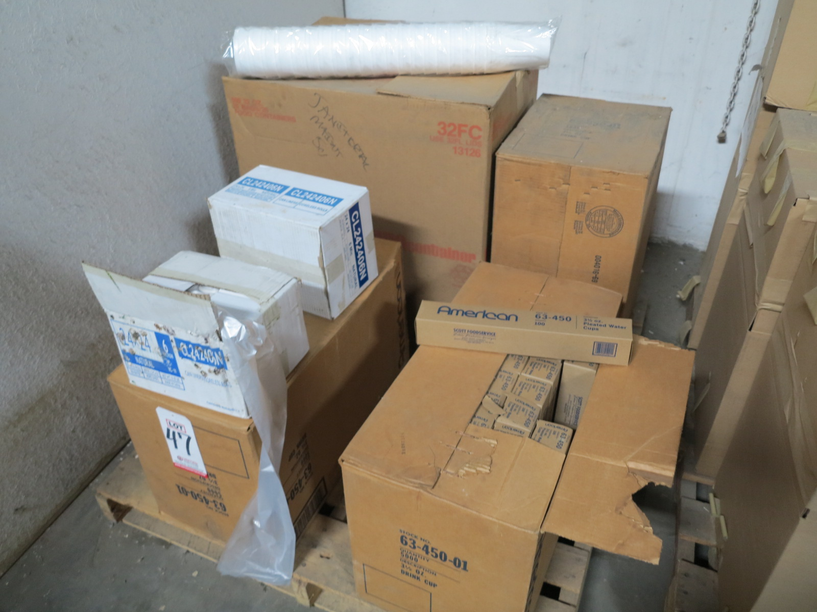 Lot 47 - LOT - PALLET OF DRINKING CUPS, TRASH CAN LINERS