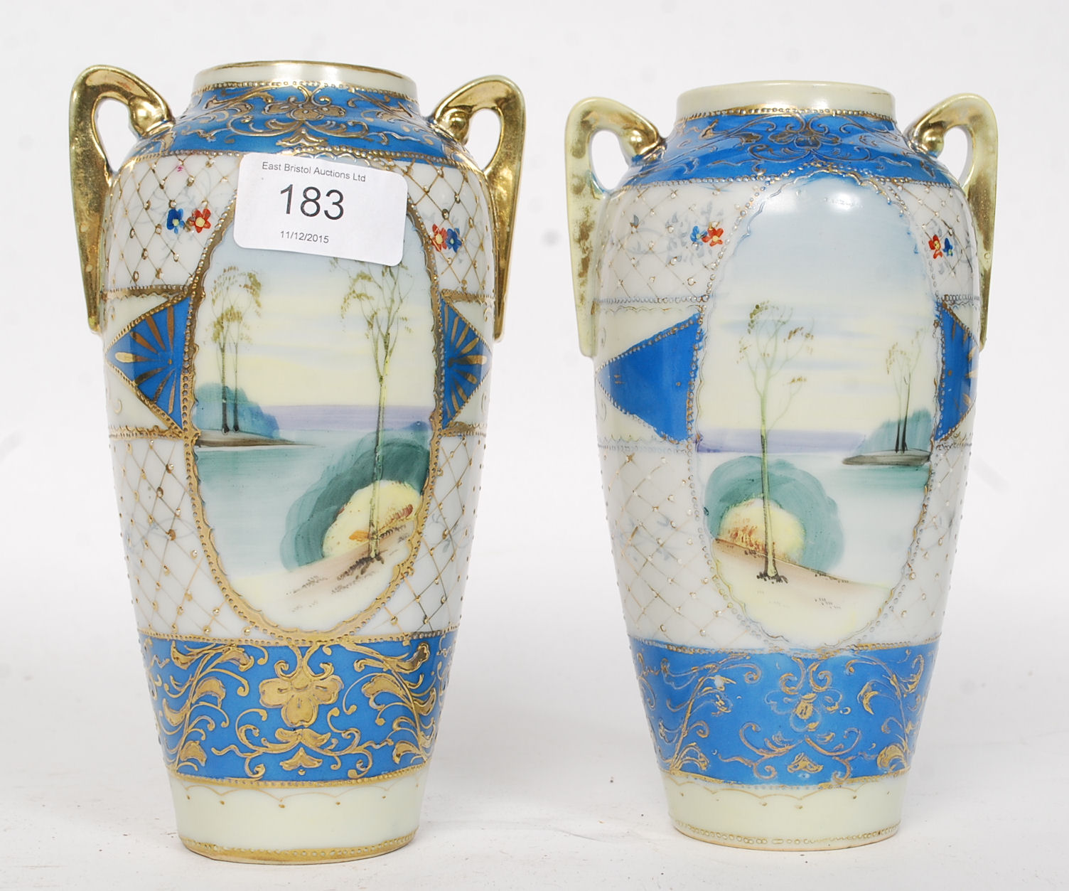 A pair of 20th century kinjo china hand painted twin handled lot 151 a pair of 20th century kinjo china hand painted twin handled nippon vases reviewsmspy