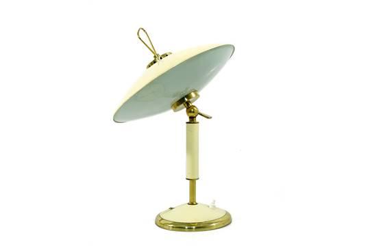 Lampe de bureau en laiton et gainé de cuir galerie yvan royer