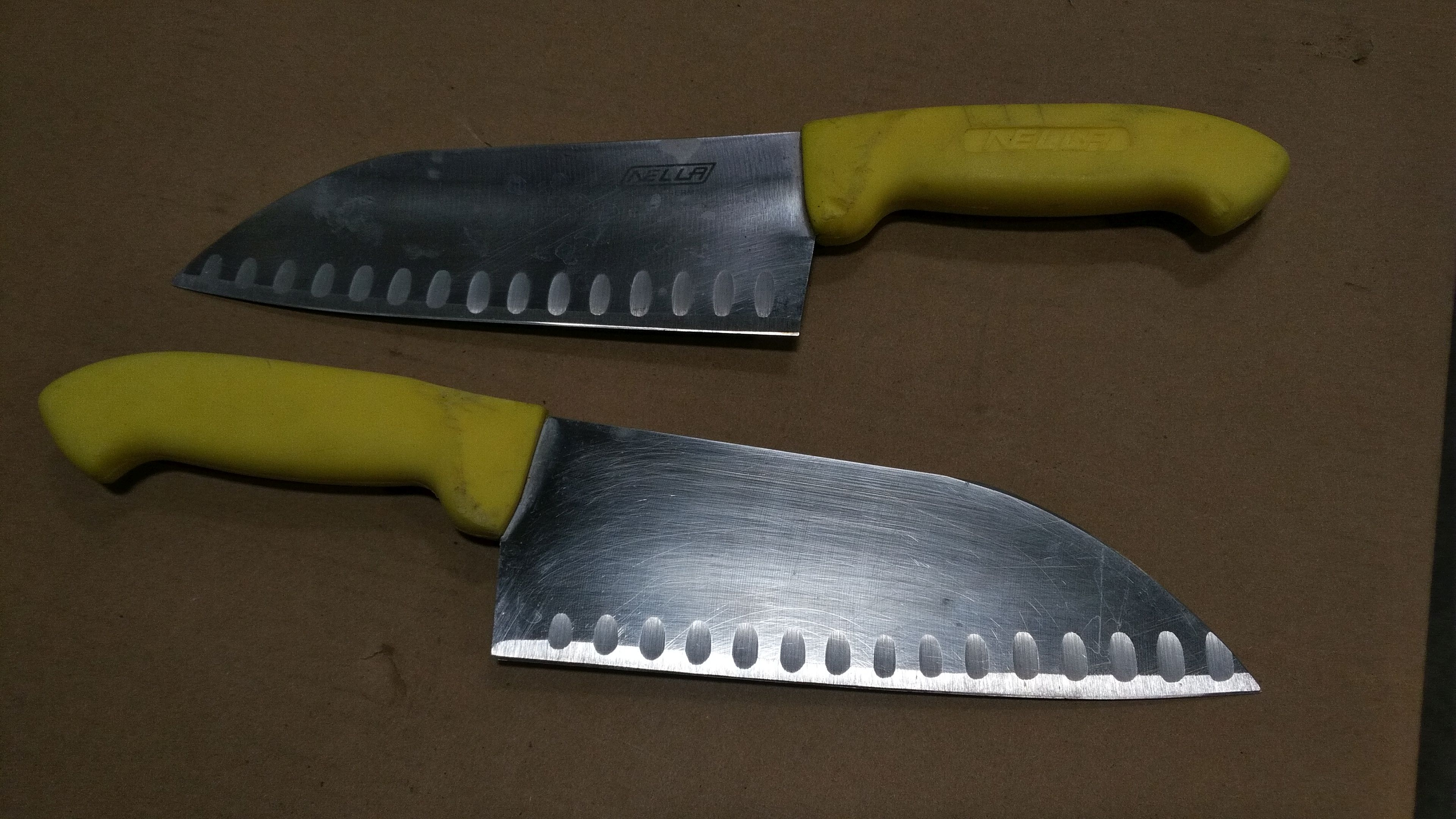 Lot 23 - Used/Sharpened Yellow Santoku Knives - lot of 2