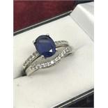 9ct WHITE GOLD BLUE SAPPHIRE & DIAMOND RING + 9ct DIAMOND WISHBONE RING TO MATCH
