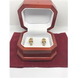 FINE CITRINE EARRINGS SET IN YELLOW & WHITE METAL TESTED AS 18ct GOLD